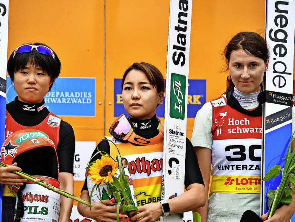 Erstmals auf einem Weltcup-Podest: Ram...d Yuki Ito sensationell auf Rang drei.  | Foto: Achim Keller