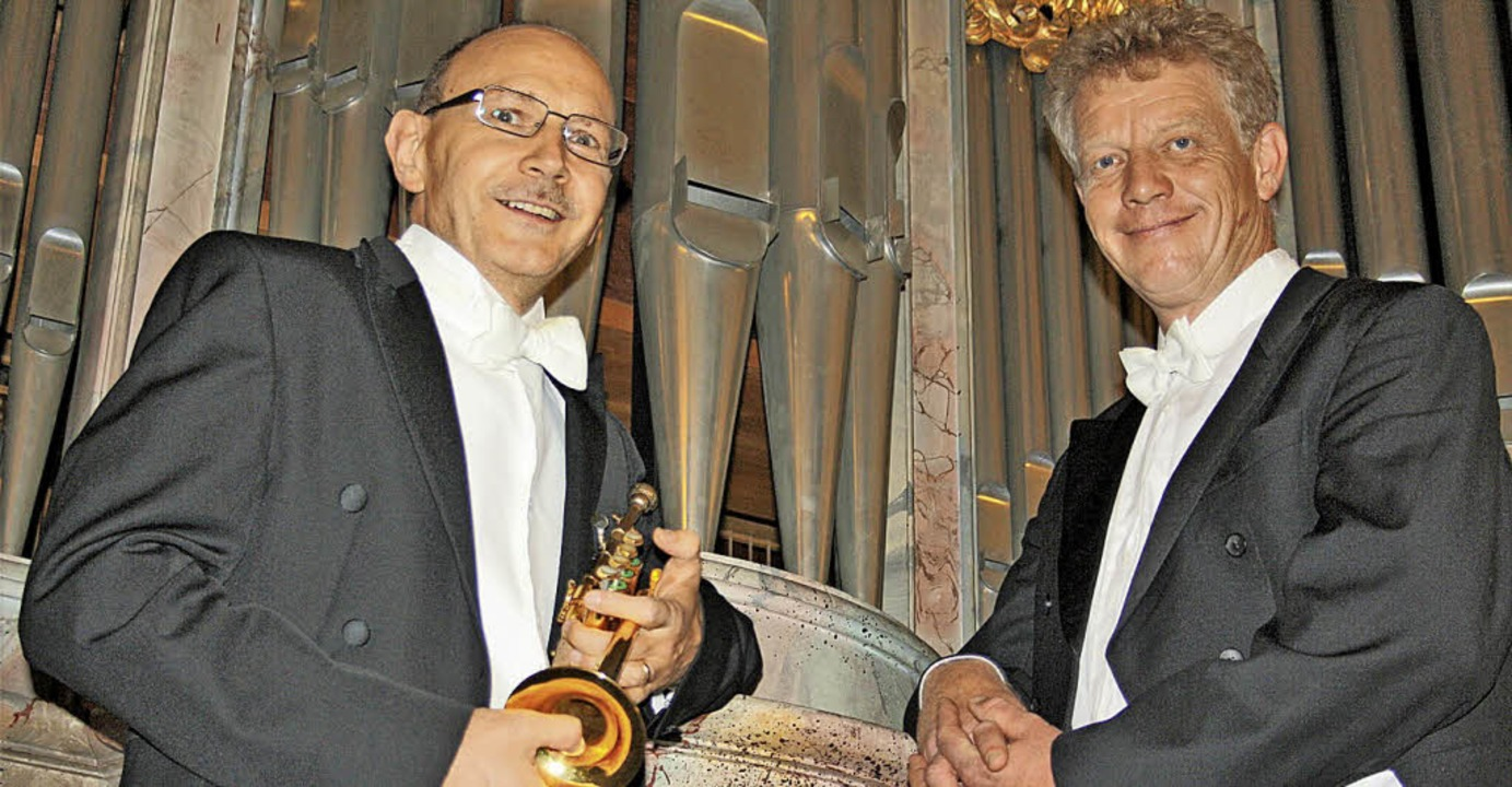 Klassik-Trompeter Bernhard Kratzer und...ils außergewöhnlichen Kompositionen.      Foto: Andreas Böhm