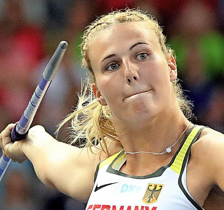 Christin Hussong holte Gold im Speerwerfen.  | Foto: dpa
