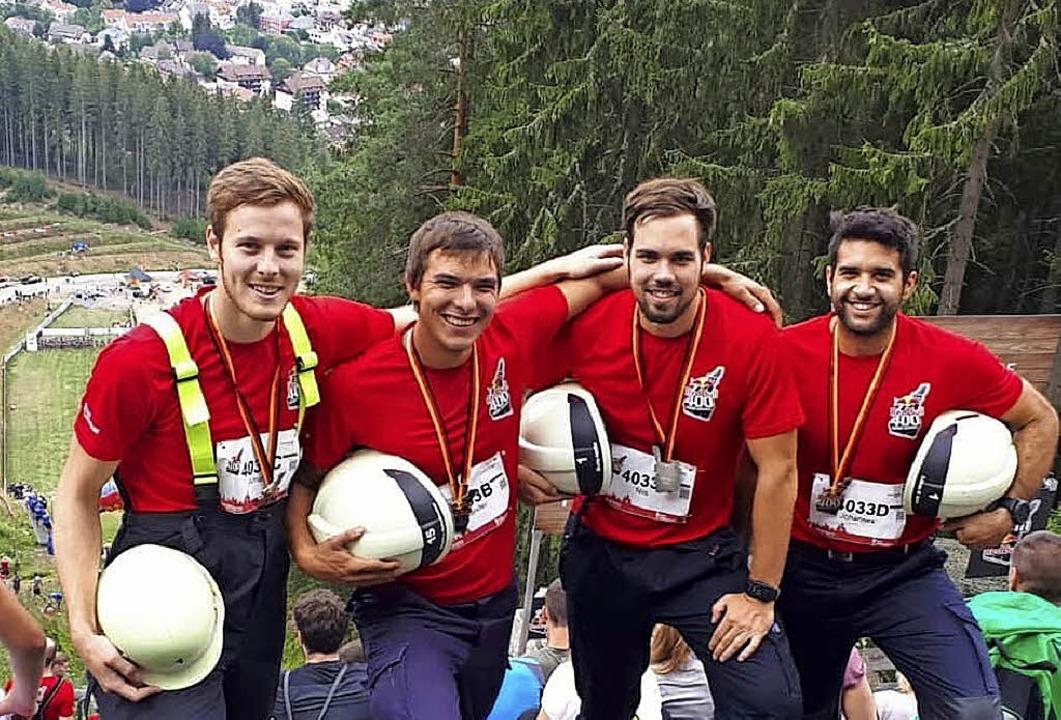 Siegten gegen 30 andere internationale...er, Moritz Höfflin und Adnan El Ajouz   | Foto: Feuerwehr Müllheim