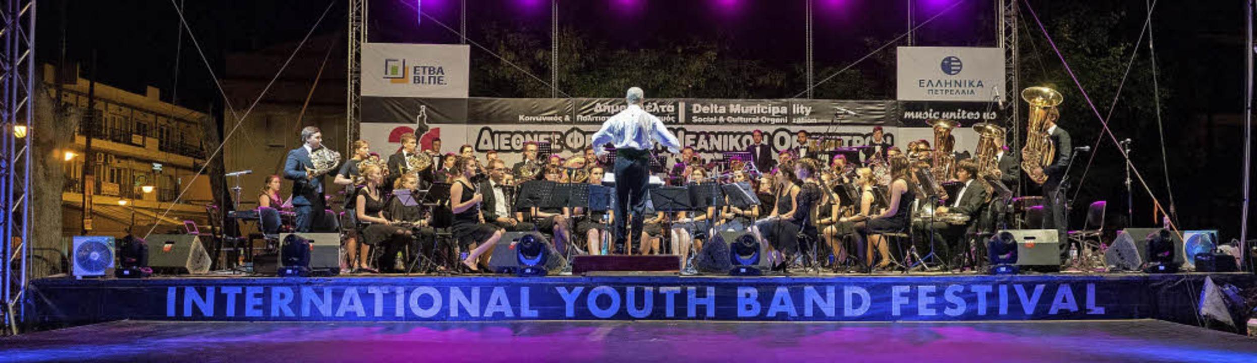 Das Verbandsjugendorchester Hochrhein beim Auftritt in Thessaloniki     Foto: Roman Lüttin