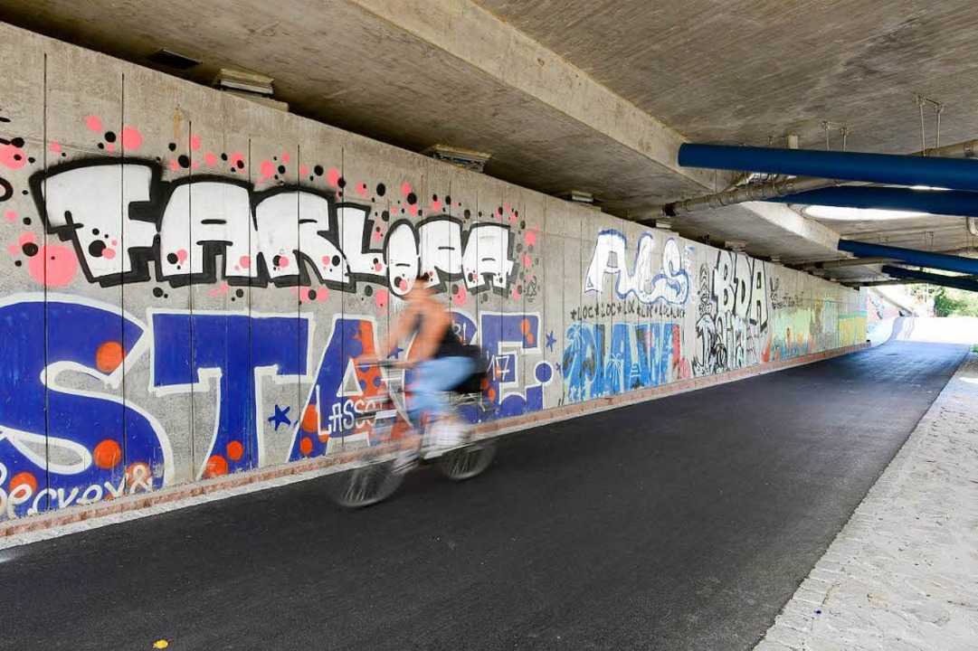 Auch unter der Brücke, wo kein Sandstein ist, wurde gesprayt.  | Foto: Ingo Schneider