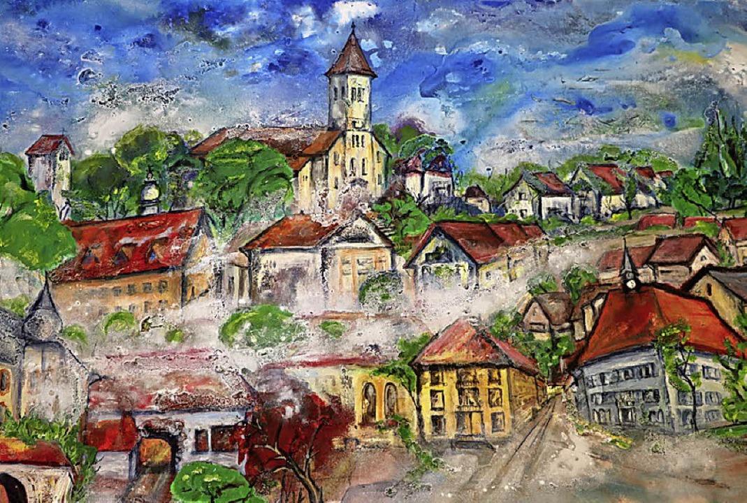 Bonndorf aus Sicht der Künstlerin in M... 31. März im Rathaus ausgestellt sind.  | Foto: Martha Weishaar