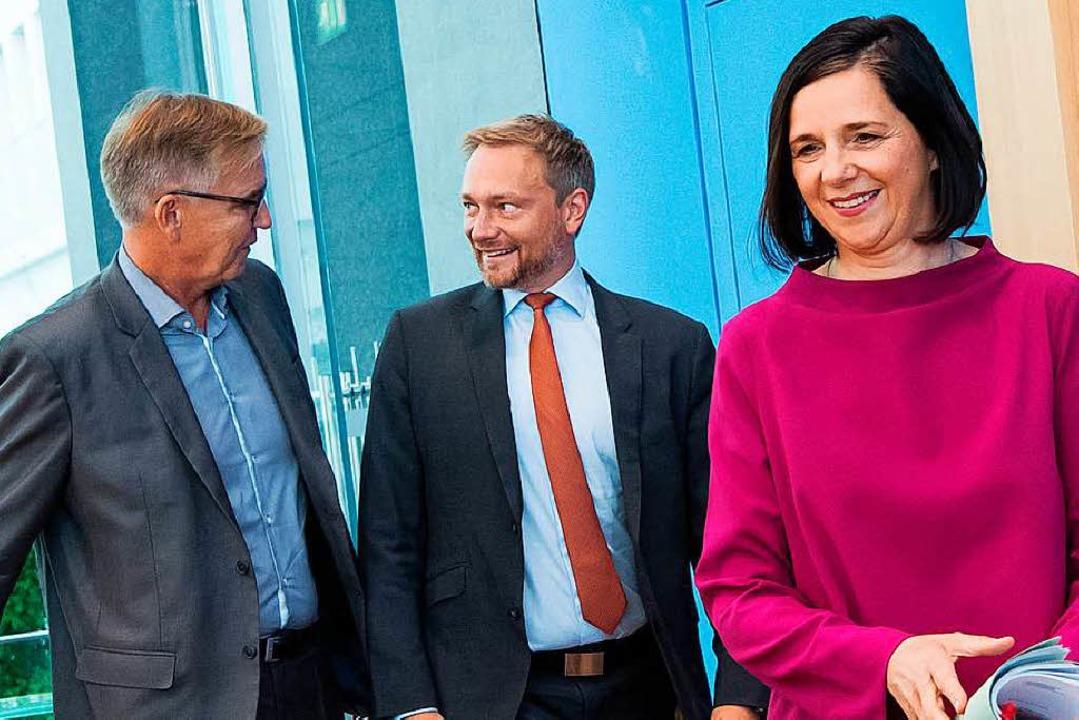Dietmar Bartsch (Linke), Christian Lin...P) und Katrin Göring-Eckardt (Grüne)    | Foto: DPA