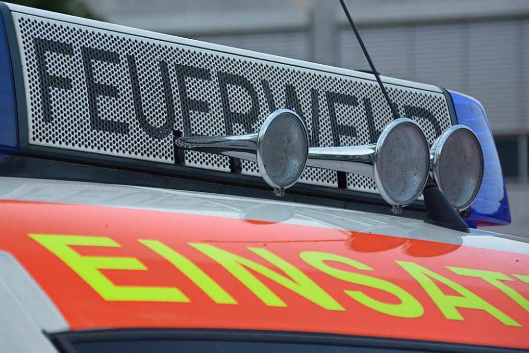 Die Weiler Feuerwehr war im Einsatz, um ein Baby aus einem Auto zu befreien.  | Foto: Hannes Lauber