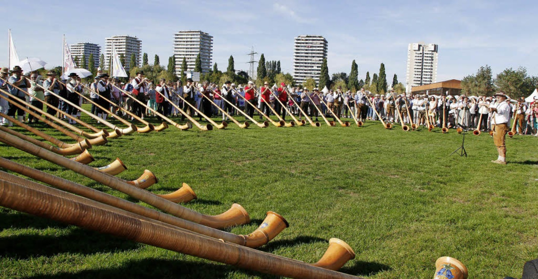 Volles Rohr war angesagt, als sich die...esgartenschau zum Tutti versammelten.   | Foto: heidi fössel