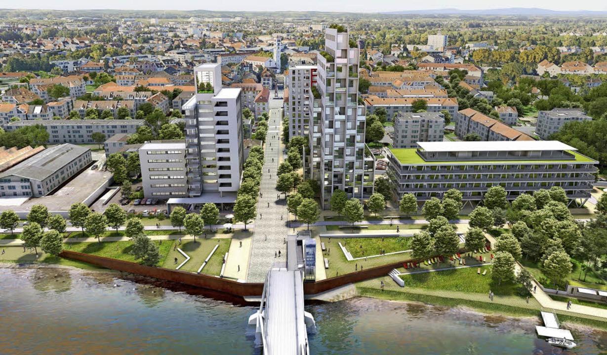 So soll die Bebauung am Hüninger Ufer bei der Dreiländerbrücke einmal aussehen.   | Foto: L'Atelier Lumiere Butt