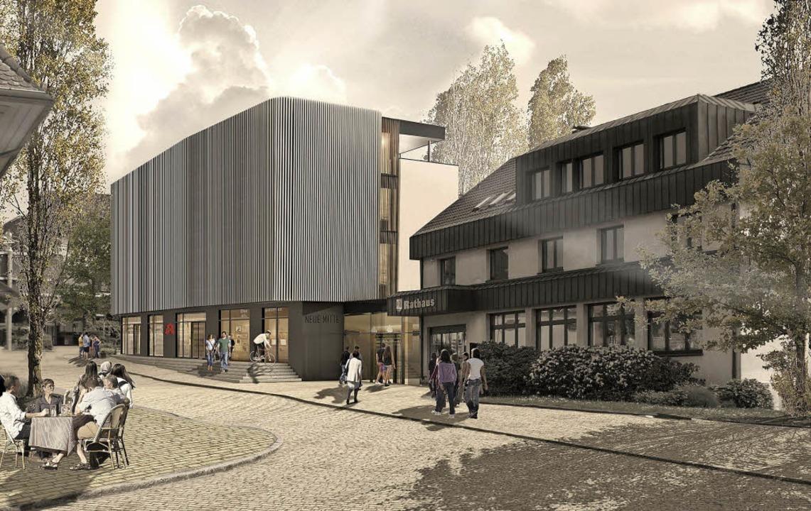 Auffällig: Die Fassade des Ärztehauses wird mit  Holzlamellen verblendet.    Foto: Visualisierung: Trenova Immobilien GmbH