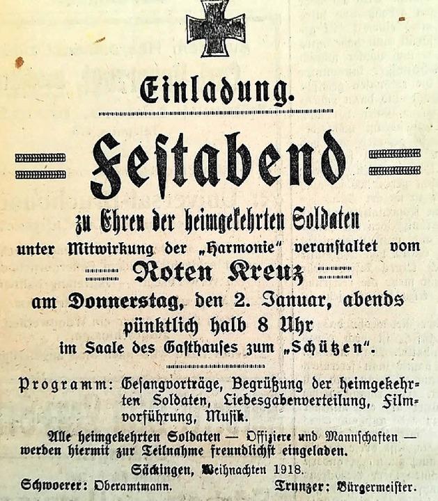 Einladung zum Festabend für heimgekehr...ldaten   (Sa., 28. Dez. 1918, Nr. 209)  | Foto: Irene Krauß