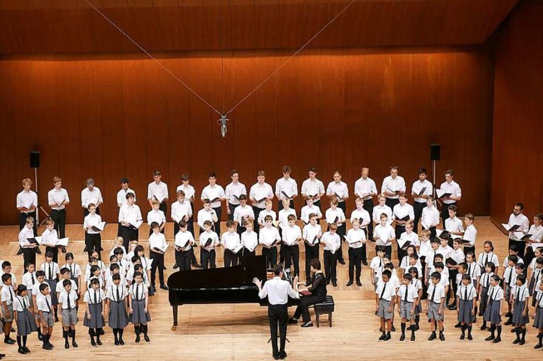 Gemeinsam singen: Die Freiburger Domsi...sa-Kohen-Grundschule in Hiroshima auf.    Foto: privat