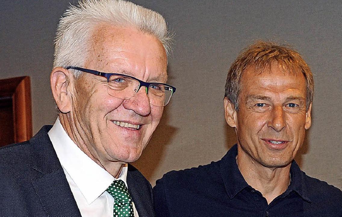 Winfried Kretschmann und Jürgen Klinsmann in San Francisco     Foto: dpa