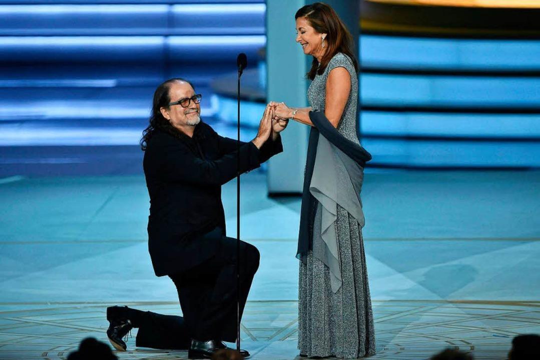 Regisseur Glenn Weiss nutzte seine Dan...ntrag für seine Freundin Jan Svendsen.    Foto: AFP