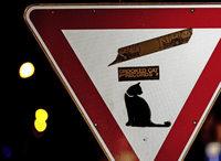 Straßenschilder bei Nacht im Freiburger Stühlinger