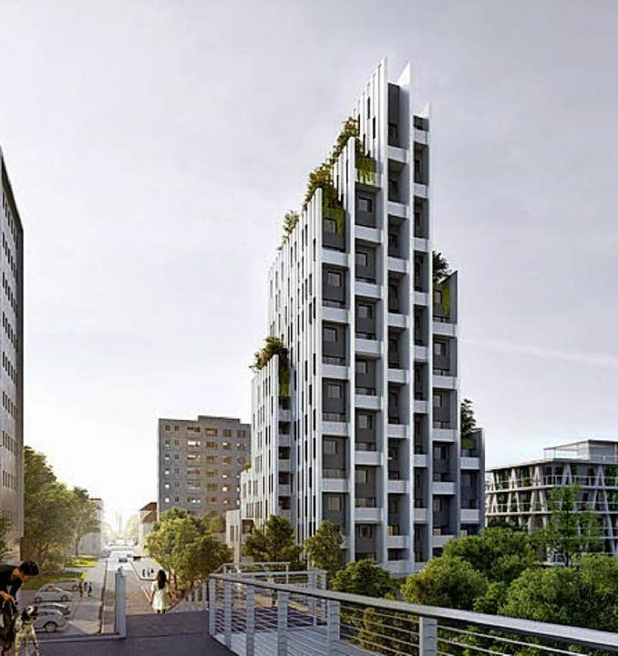 Die Skyline des in Hüningen am Vis-à-Vis-Areal geplanten verdichteten Bauens   | Foto: VisuaLisierungen: Constructa