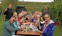 Gäste helfen bei der Weinlese mit