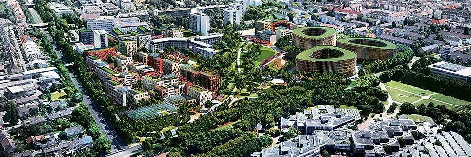 So könnte das neue Wohngebiet im Freiburger Stadtteil Stühlinger aussehen