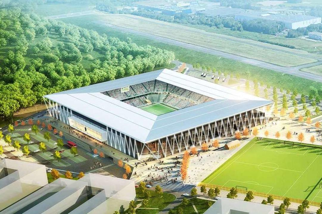 Das neue SC-Stadion am Flugplatz bekommt eine eigene Tram-Haltestelle.  | Foto: HPP-Koester, Stadt Freiburg