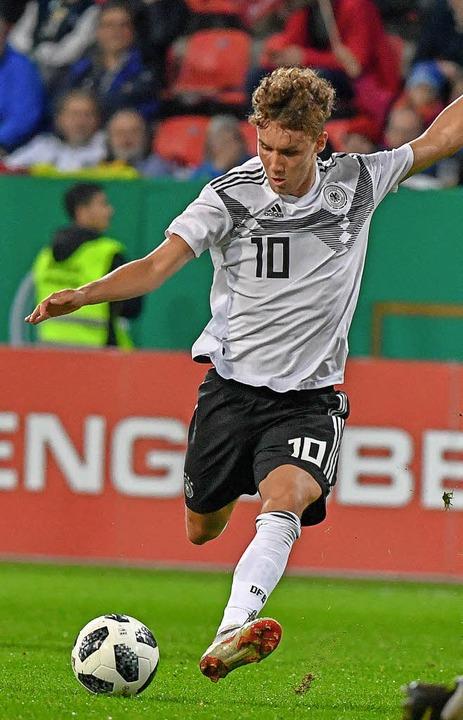 Gut unterwegs mit der U21-Nationalmannschaft: Der Freiburger Luca Waldschmidt   | Foto: Bild: dpa