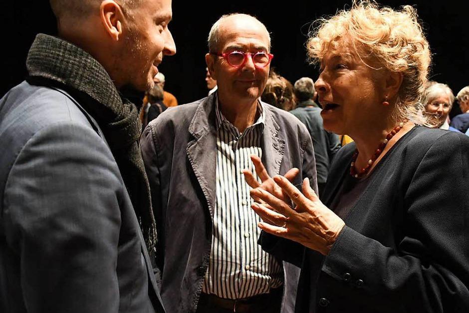 Gesine Schwan im Gespräche mit Tim Göbel (Geschäftsführer Schöpflin-Stiftung) und Hans Schöpflin (Mitte). (Foto: Barbara Ruda)