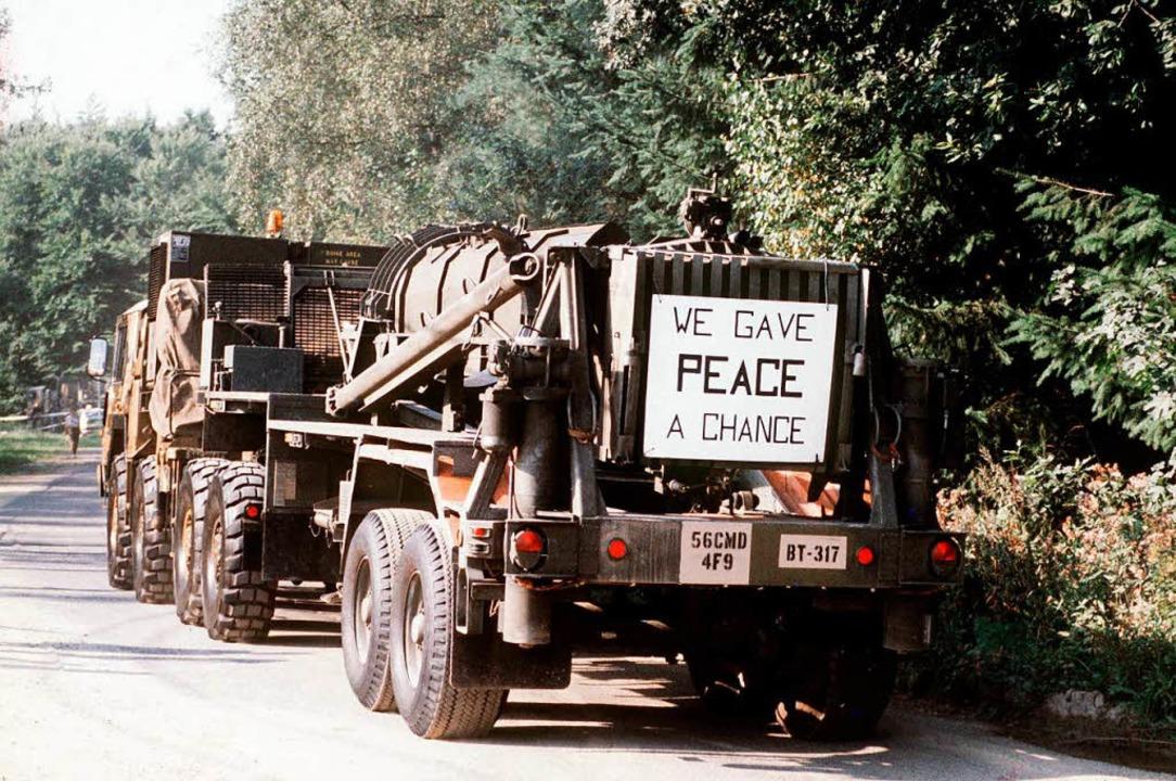 Pershing-II-Raketen wurden 1988 gemäß ...dheide bei Heilbronn abtransportiert.   | Foto: DPA