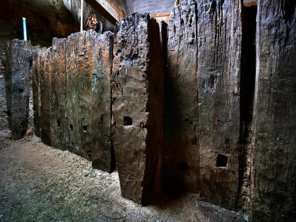 Spundwand-Reste von Kölns römischem Hafen  | Foto: Röm.-Germ. Museum/Thünker