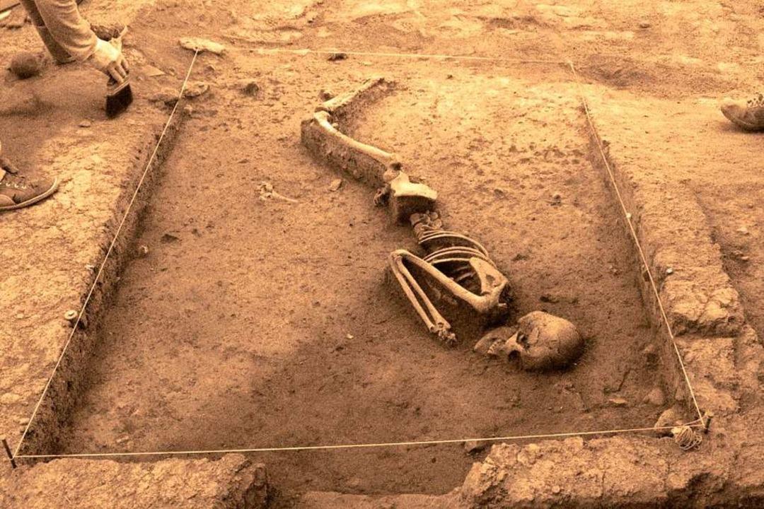 Archäologen erforschen was war. Hier h...3000 Jahre altes Skelett frei gelegt.   | Foto: dpa