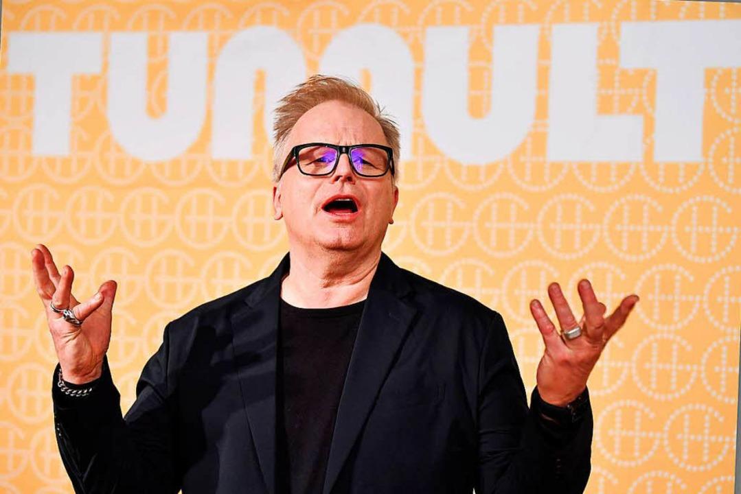 Herbert Grönemeyer bei der Präsentation seiner Platte in Berlin  | Foto: dpa