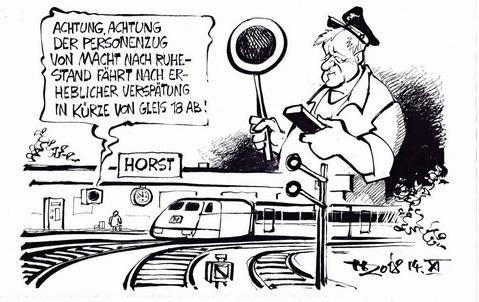 Endlich mehr Zeit für die Modelleisenbahn ... Karikatur: Haitzinger