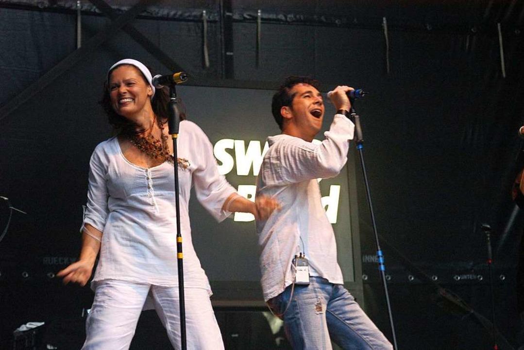 Mit der SWR3-Band trat sie im Juli 2007 beim Uni-Sommerfest in Freiburg auf.  | Foto: Thomas Kunz