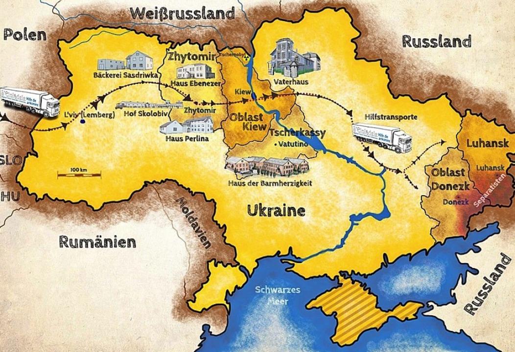 Einsatzorte der Ukrainehilfe, die vom ...Elztäler Rotary-Club-Mitglieder waren.  | Foto: Verein