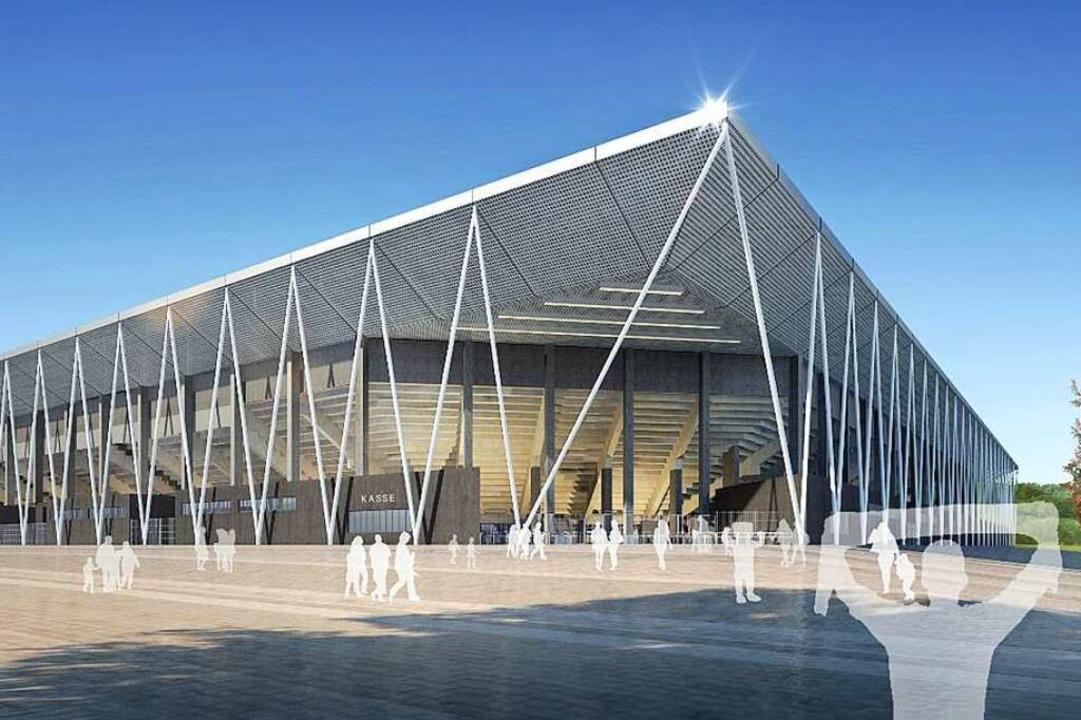 So soll es aussehen: das neue SC-Stadion am Wolfswinkel    Foto: dpa