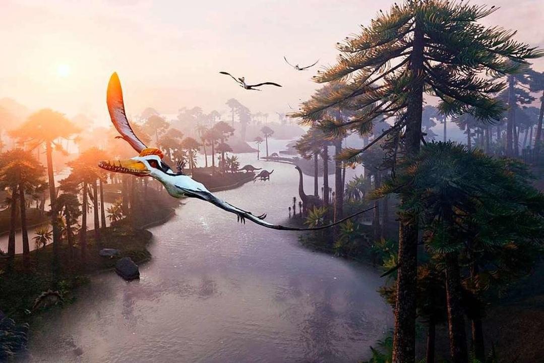 Mit dem Flugsimulator kann man durch d...orische Welt der Dinosaurier flattern.  | Foto: Somniacs