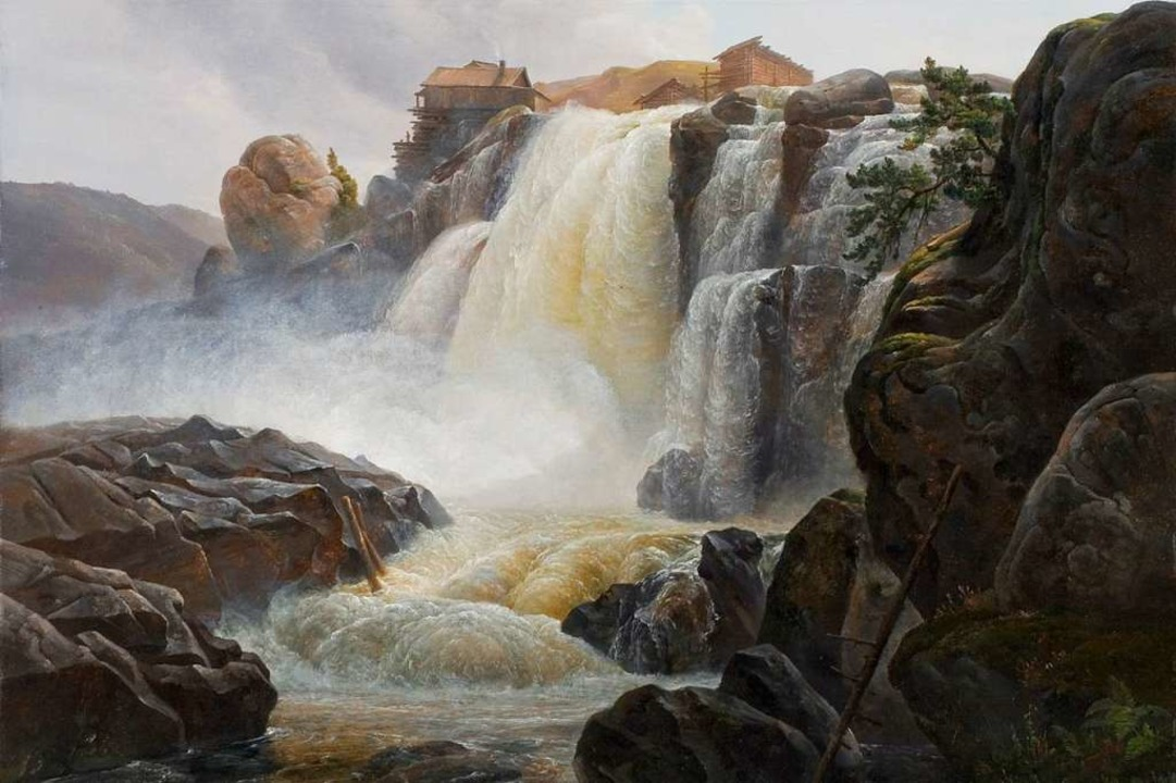 Christian Morgenstern: Wasserfall Haug Foss (1827/28), Ausschnitt  | Foto: Lukas Spörl/Museum Kunst der Wetsküste