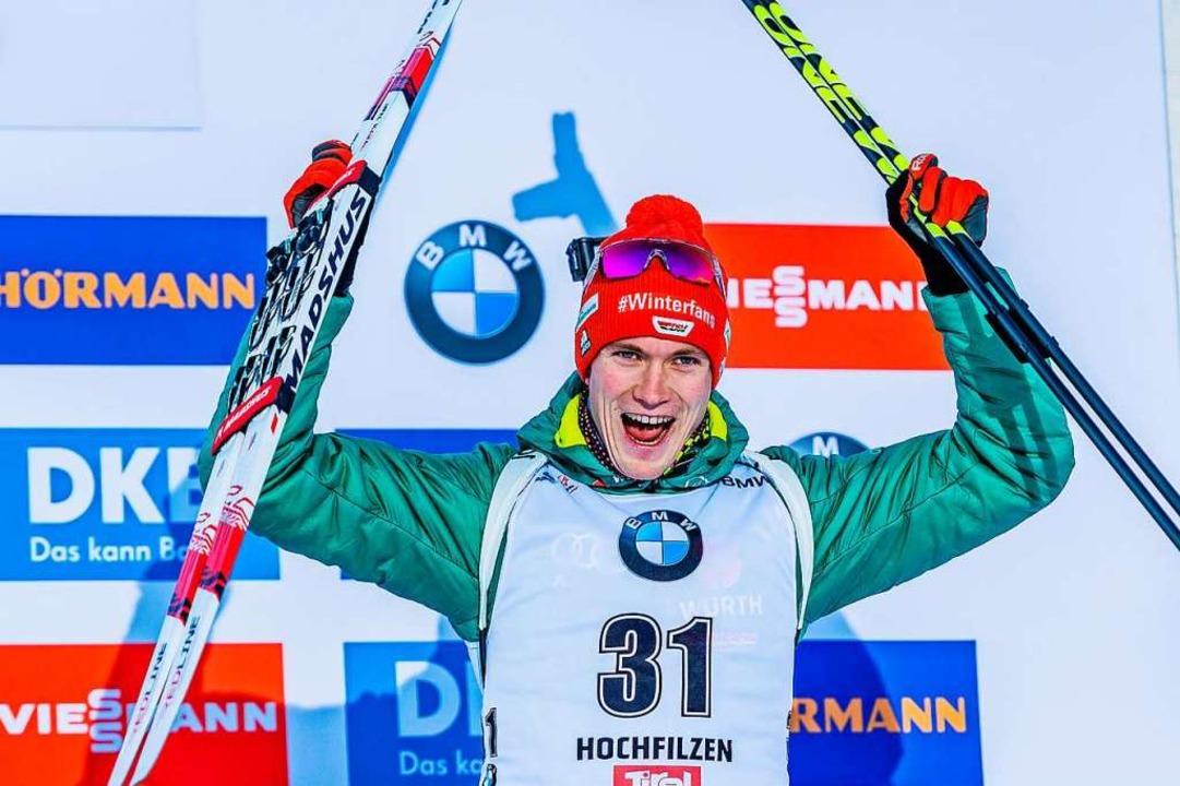 Benedikt Doll jubelt über seinen dritten Platz.    Foto: dpa