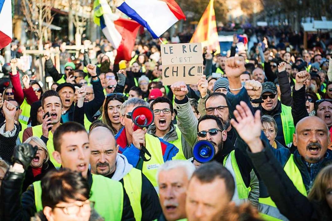 Gelbwesten bei Protesten in Aix-en-Provence.  | Foto: AFP