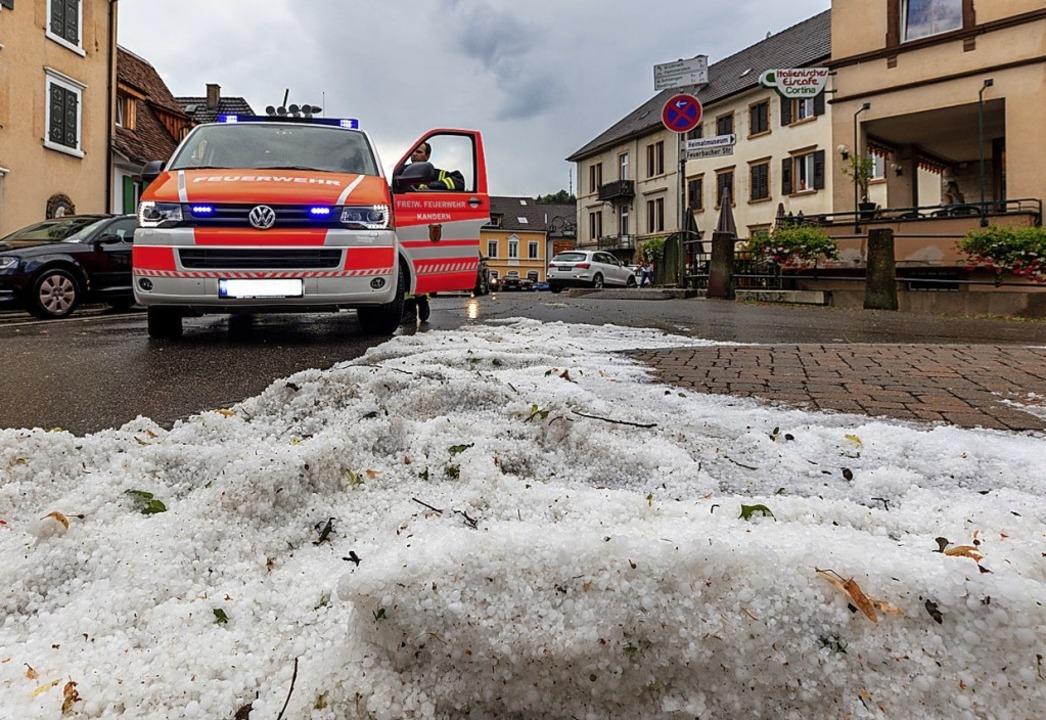 Kein Schnee, sondern Hagel: Kandern im Juli 2018   | Foto: Dominic Kurz