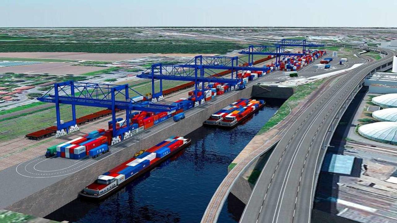Das geplante Hafenbecken mit Containerterminal (Archivbild, 2016).  | Foto: ZVG