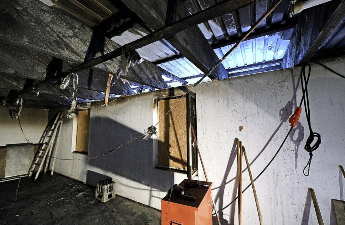 Im Inneren entstanden erhebliche Schäd...he Ausstellungskäfige wurden zerstört.  | Foto: Thomas Kunz