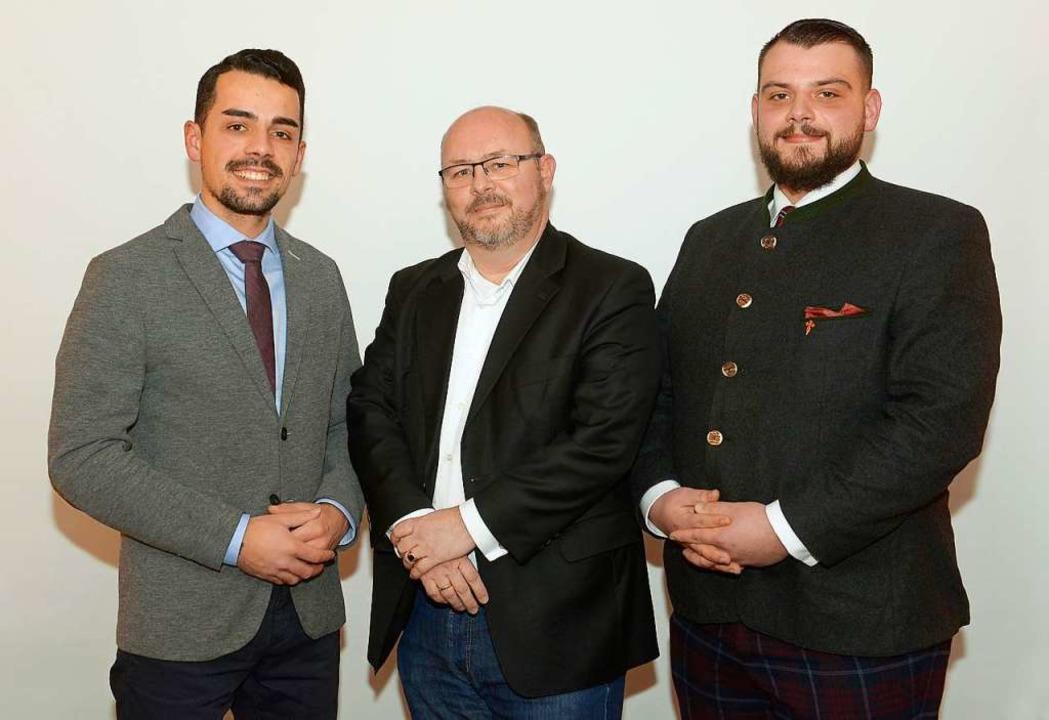 Die  Spitzenkandidaten der AfD für die...lef Huber und Karl Schwarz (v. links).  | Foto: Ingo Schneider