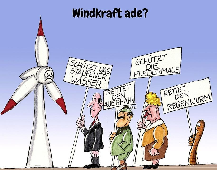 So sieht der BZ-Karikaturist die Windkraft-Lage<ppp></ppp>    Foto: Karikatur: Bert Kohl