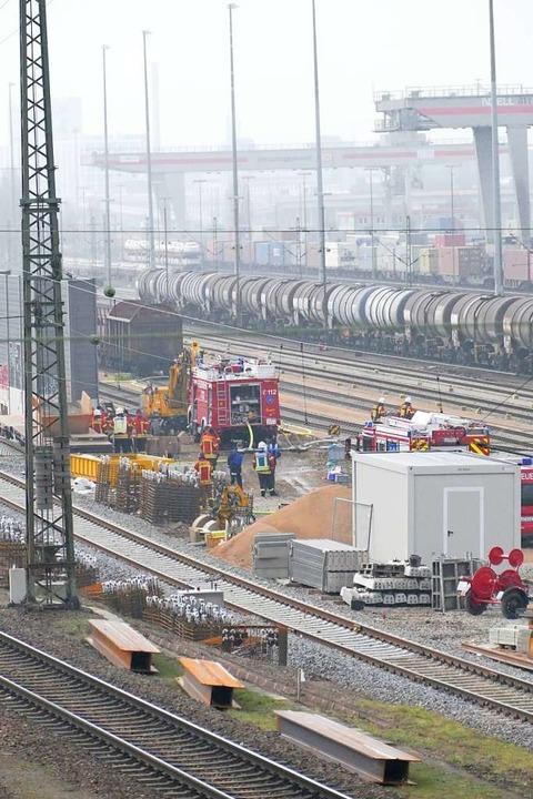 Der Einsatz im Rangierbahnhof in Basel Badischer Bahnhof.  | Foto: Ulrich Senf