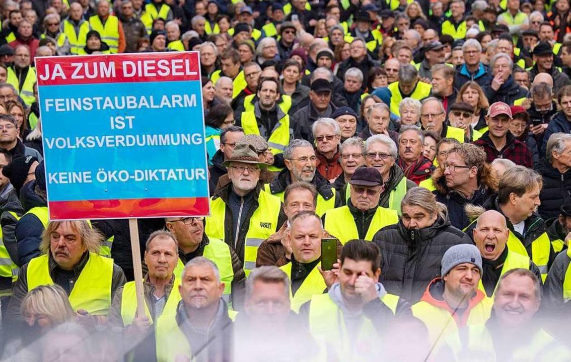 Ein Demonstrant zeigte ein Transparent in den Farben der AfD.     Foto: dpa