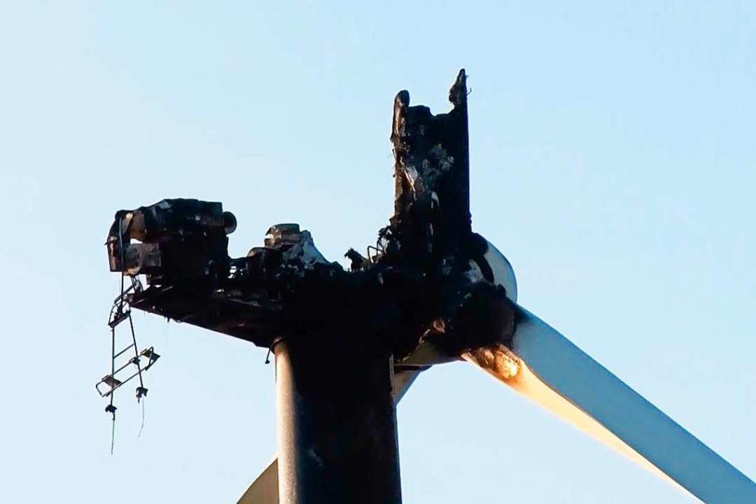 Das ausgebrannte Windrad  | Foto: Wolfgang Künstle