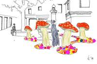 Bei der Chrysanthema wachsen riesige Pilze aus dem Boden