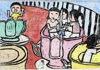 Linoldrucke zeigen den Alltag japanischer Kinder
