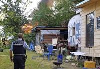 Wohnwagen ein Raub der Flammen