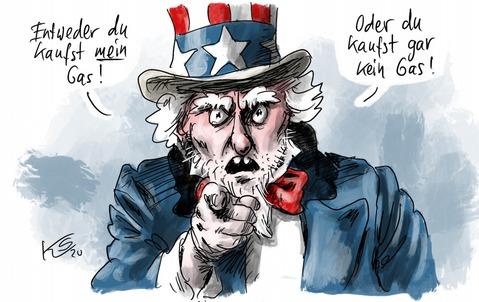 Es lebe die deutsch-amerikanische Freundschaft! Zeichnung: Stuttmann