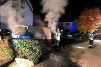 In Neuenburg standen ein Roller und ein Kleintransporter in Flammen