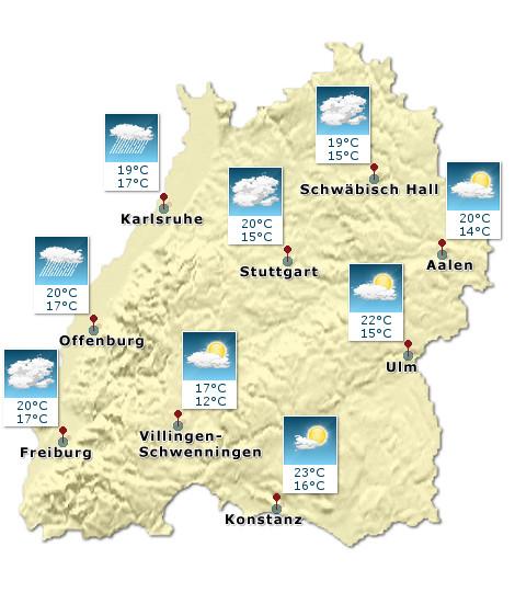 Wetterkarte: Baden Württemberg