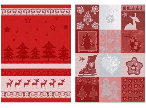 2er-Set Geschirrtücher mit Weihnachtsmotiv von Ross